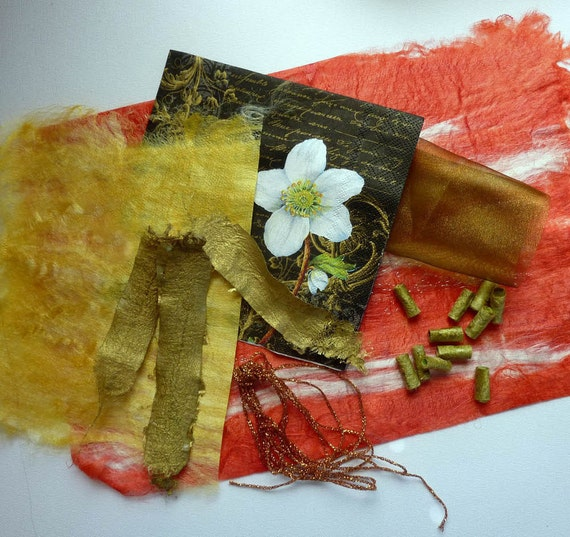 Art and Craft Sample Pack. Textile Arts Fiber Silk Fiber Kit. Red and Gold