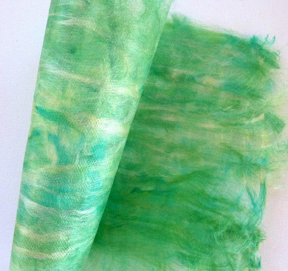 Green Craft Paper  Collage and textile art and craft supplies. Hand made silk paper. Green Wave