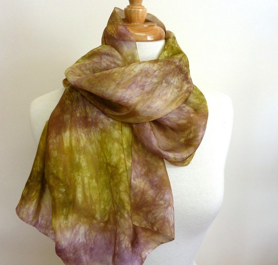 "Hand Painted Silk. Nuno Felting or Applique. 19"" x 45"" . Olive and Grape"