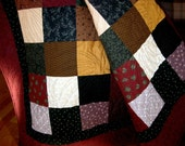 Twin Size or Throw Quilt in Red, Brown and Green