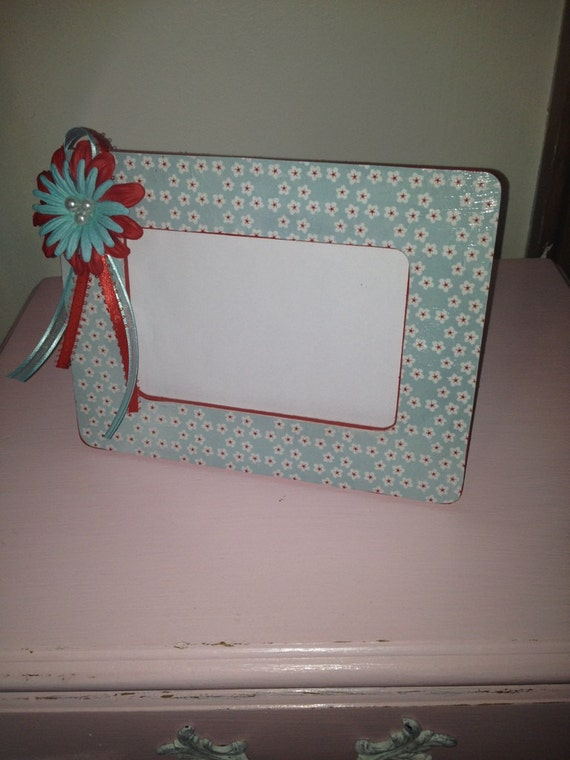 Aqua and Red Vintage inspired Shabby Chic picture Frame Embellished Wood Mothers Day gift custom orders welcome