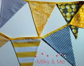 Bunting / Banner / Flags -  Yellow, White and Grey - wedding, party, room decor