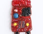 London Bus Beaded Necklace