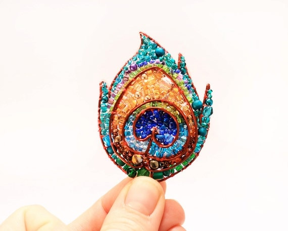 RESERVED FOR TAMMARA- Peacock Feather Beaded Brooch