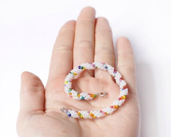 White and Multi-Coloured Spiral Beaded Bracelet