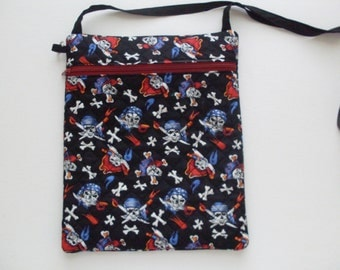 Whimsical Pirate Fabric Quilted Shoulder bag or Grab and Go Purse!
