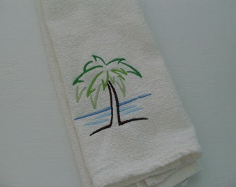 Embroidered Towel - Palm Tree