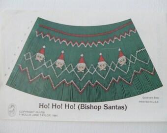 Ho Ho Ho Bishop Santas smocking design plate by Mollie Jane Taylor