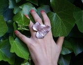 Real flower jewelry: palladium and copper-plated real ivy leaf ring