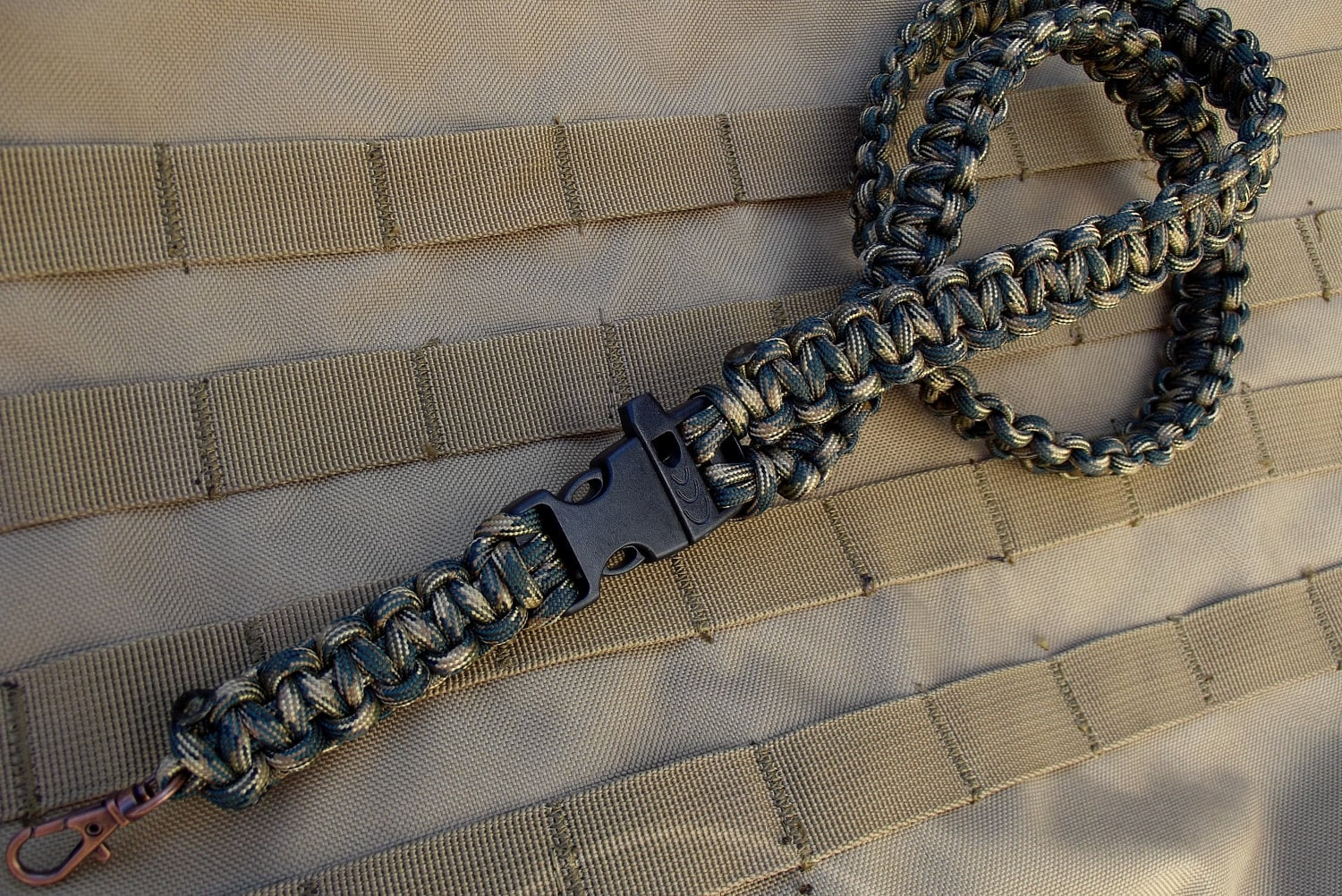 Camo Paracord Survival Lanyard With Whistle