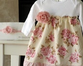 Shabby Chic baby dress, girls floral dress, spring baby dress,