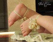 Sale baby gift - barefoot sandals baby ankle sandals elastic cream floral sandals newborn and baby