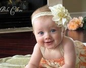 Shabby chic headband aby girls cream flower headband on crochet band newborn, baby, girls
