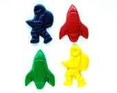 Space Party Favors - Reshaped Recycled Crayons - Package of 12 Rocket Ship Astronaut Crayons - Great for Toddler and Kids Partys