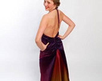 Jewel Tone Varigated Poie De Soie Halter Gown