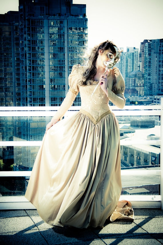 """Gold Satin and Brocade Medi""""evil"""" Wedding Gown"""