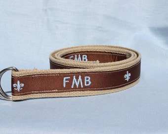 Monogrammed Grosgrain Ribbon Belt