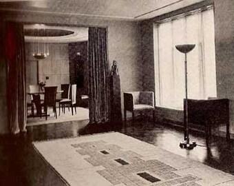 1944 MID CENTURY MODERN Art Deco decorating Home Furnishing book Rutt
