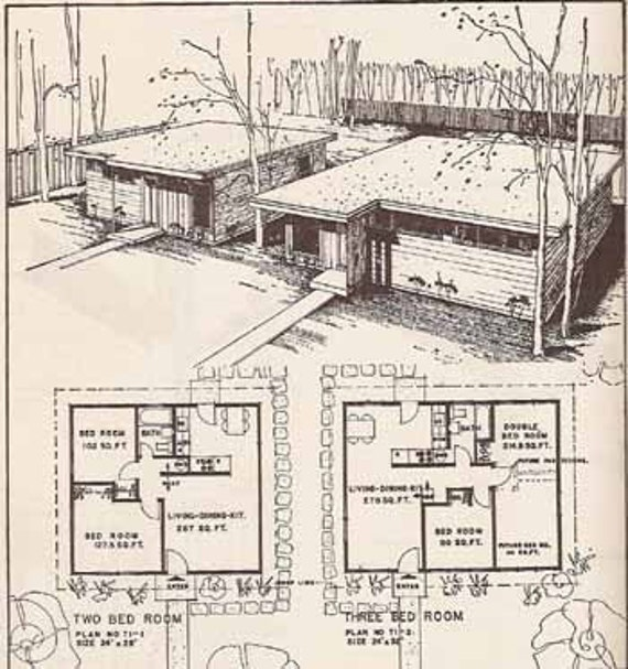 1954 mid century modern house construction details burbank for Small mid century modern home plans