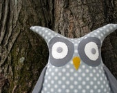 Gray and white polka dotted stuffed owl