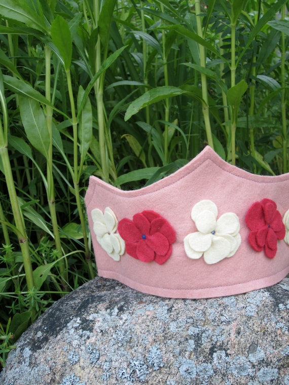 Pink birthday crown, pink with red and ivory flowers