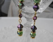 Violet and Green Beaded Dangle Earrings