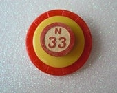Vintage Poker Chip, Button, & Bingo Number Brooch - Red/Yellow Pin