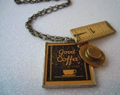Good Coffee - Vintage Found Object Necklace with Ruler & Gold Hat