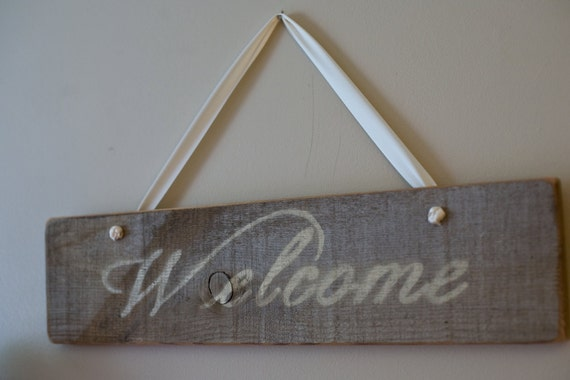 Reclaimed Barn Wood Welcome Sign with Ribbon