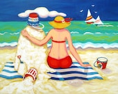 Whimsical Beach Folk Art 8x10 16x20 Glicee Print Seashore Woman Coastal Sand Castle - Mr. Sandman - Korpita ebsq