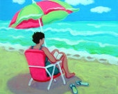 Woman Beach Umbrella Reading Book 8x8 Glicee Print from original Seashore painting - A Perfect Day - Korpita ebsq