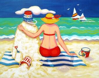 Whimsical Beach Folk Art, Seashore Print, Woman Sand Castle, Coastal Art, Funny Beach, Happy Beach Art - Mr. Sandman - Korpita