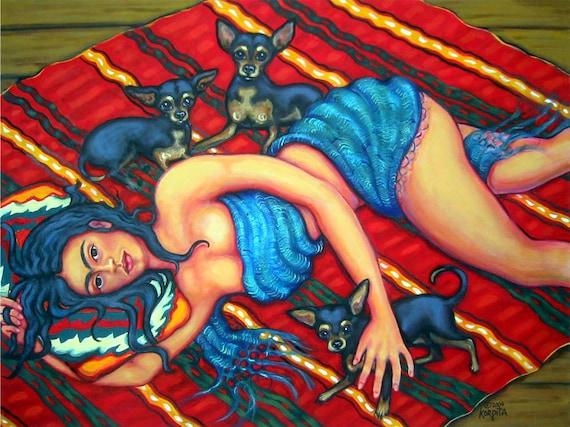 Frida Kahlo Diego Rivera Black Tan Chihuahuas Mexico Serape - Dreaming of Diego - Glicee Print from original painting Korpita ebsq
