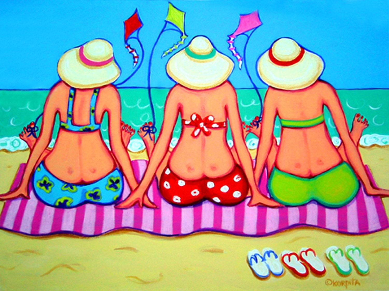 Colorful Beach Folk Art Whimsical Ocean Seashore Women 9x12