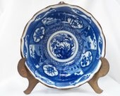 Japanese Blue and White Porcelain Noodle or Soup Serving Bowl- Ceramic Japan Dish- Scenes Signed