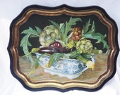 BEAUTIFUL - Painting by Galley-Stephanie Hoppen Tray England for Keller Charles- Vintage Metal Serving Tray- Cottage Country Home Decor