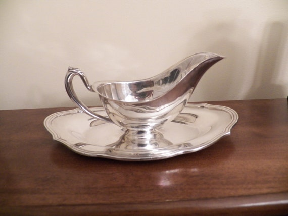 W & S Blackinton Gravy Boat Silverplated Hollowware - Attatched Underplate- Silver Plate Serving Piece- Serving Accessory