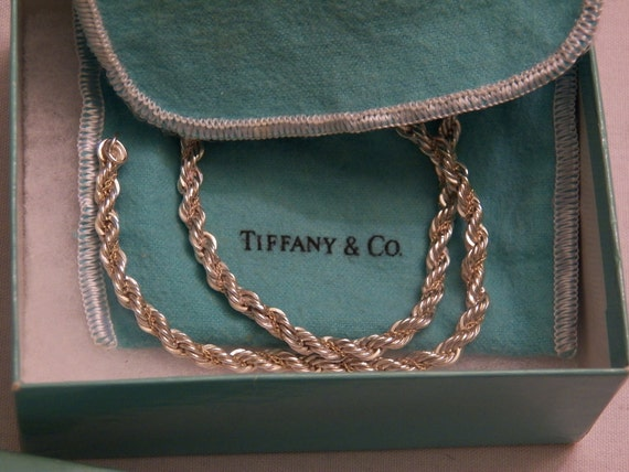 "ReDuCeD Tiffany Sterling Silver and 18K Gold Rope Necklace Link Chain 24"" Mint"