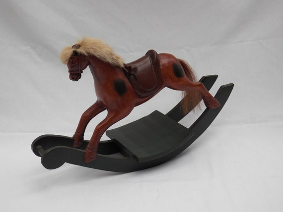 Vintage Carved Wooden Rocking Horse Hand Painted-Spain- Sarreid Limited -  Decorative Toy- Holiday Home Decor Unique Gift- Christmas Display