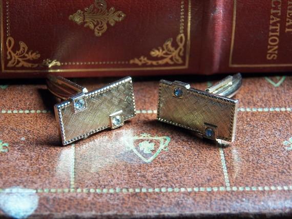 Vintage Gold Color Cufflinks - Menswear - Accessory - Wedding- Fathers Day - Diamond Like Rhinestones- Square Jewelry Men- Cuff Links