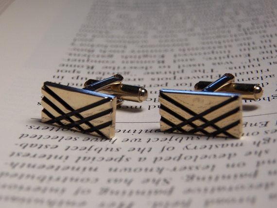 Vintage Gold Plated and Black Color Cufflinks- Mens Cuff Link Accessory - Menswear- Wedding- Retro Classic Jewelry - Mans Gift-