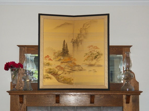 Antique Chinese Silk Screen - Hand Painted Bi Folding Screen- or Wall Hanging- Framed Signed Art