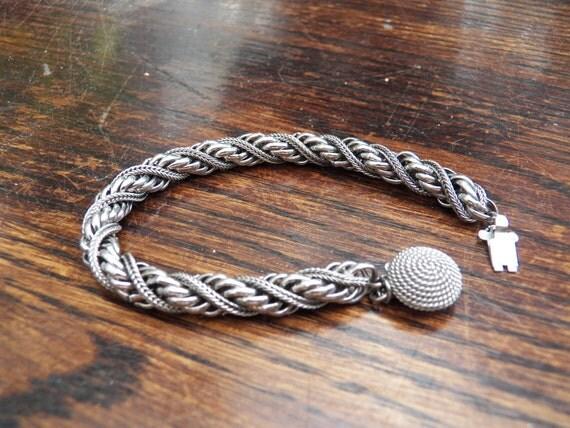 Antique Silver Rope Intertwined Bracelet -  Unique Vintage Jewelry - Estate Fine Jewelry Piece