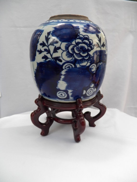 19th Century Chinese Porcelain Export Jar-Cobalt Blue and White - decorative Pottery- Collectible Urn with Wood stand