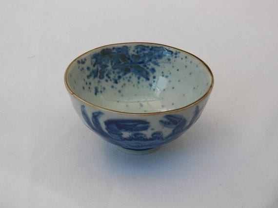 Japanese Blue White Rice Bowl - Blue Crab Design- Soup Bowl- Asian Pottery Collectible Serving Dish- Signed Pottery
