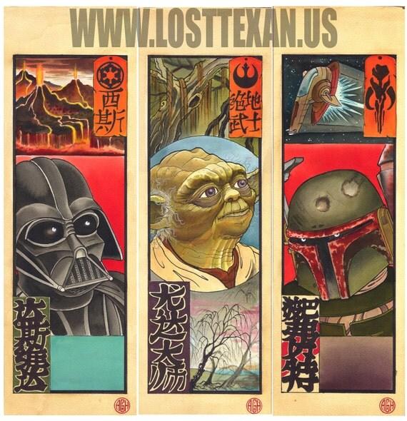 Set of 3 Japanese Star Wars Art Prints (Boba Fett, Darth Vader, and Yoda)