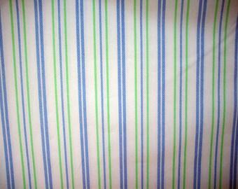 Blue & Green Stripe Cotton Broadcloth Fabric Yardage