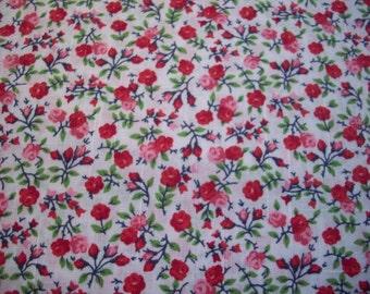 Red Rosie Broadcloth Fabric Yardage