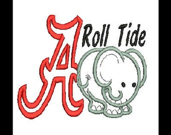 Alabama A and Elephant Applique Embroidery Design, Alabama Applique (41) Instant Download