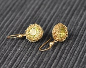 14K Gold Filled Crochet Earrings with Swarovski Jonquil Crystals - Free Shipping
